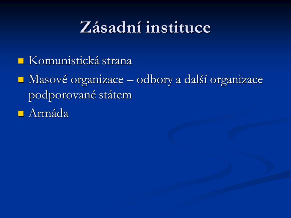 Zásadní instituce Komunistická strana Komunistická strana Masové organizace – odbory a další organizace podporované státem Masové organizace – odbory