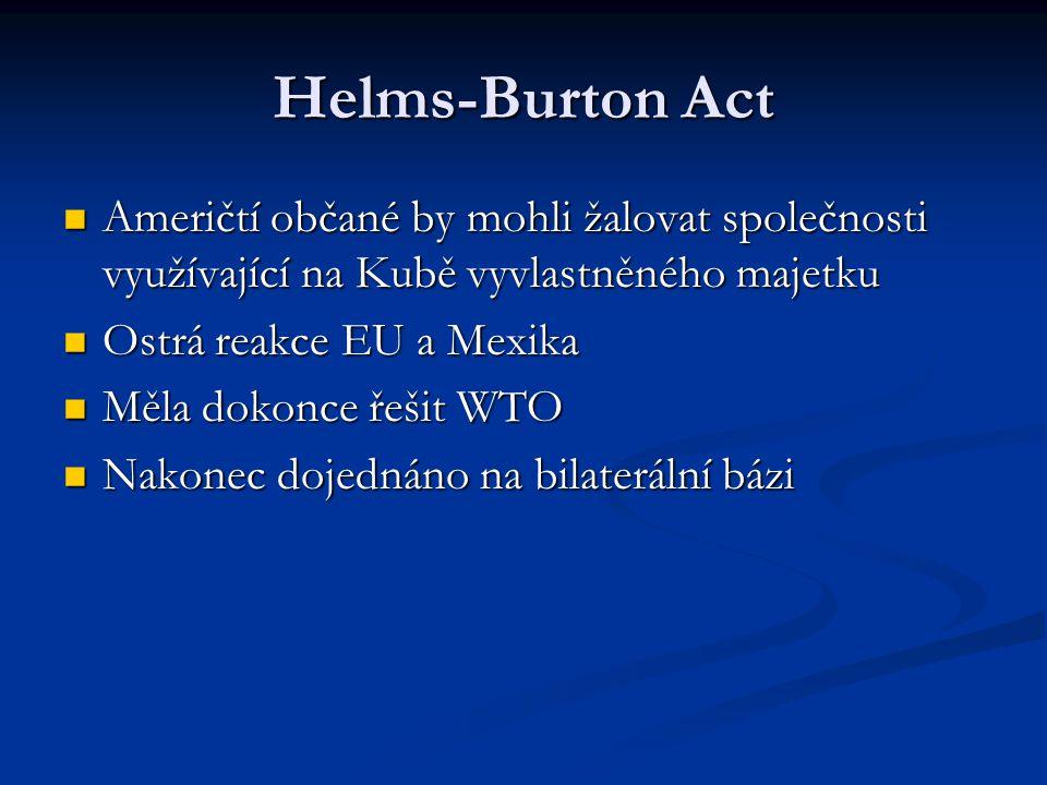 Helms-Burton Act Američtí občané by mohli žalovat společnosti využívající na Kubě vyvlastněného majetku Američtí občané by mohli žalovat společnosti v