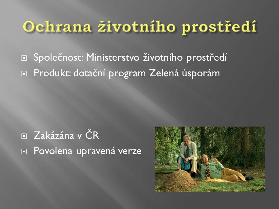  Společnost: Ministerstvo životního prostředí  Produkt: dotační program Zelená úsporám  Zakázána v ČR  Povolena upravená verze