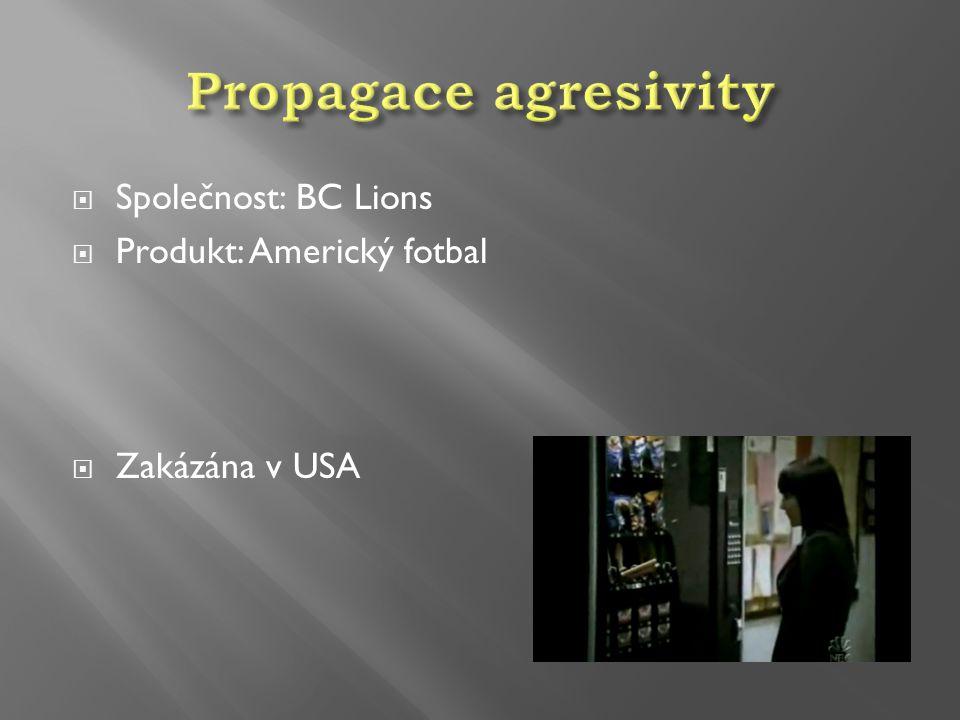  Společnost: BC Lions  Produkt: Americký fotbal  Zakázána v USA