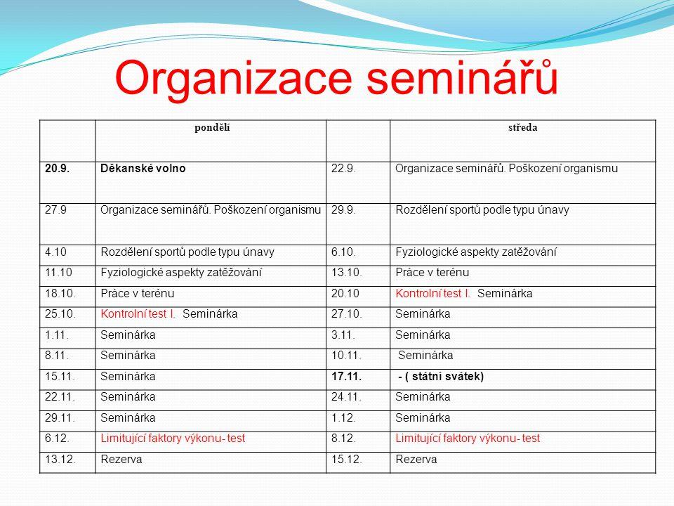Organizace seminářů pondělístředa 20.9.Děkanské volno22.9.Organizace seminářů.