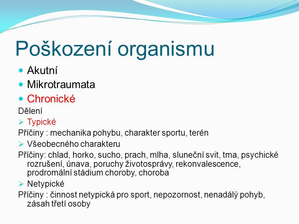 Poškození organismu Akutní Mikrotraumata Chronické Dělení  Typické Příčiny : mechanika pohybu, charakter sportu, terén  Všeobecného charakteru Příči