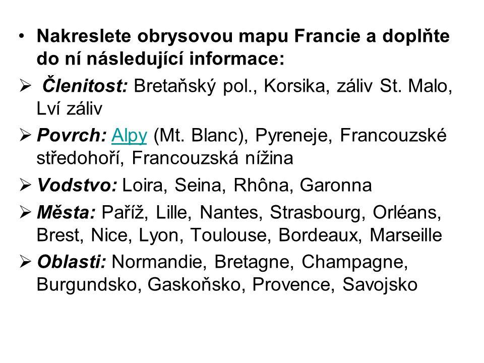 Nakreslete obrysovou mapu Francie a doplňte do ní následující informace:  Členitost: Bretaňský pol., Korsika, záliv St. Malo, Lví záliv  Povrch: Alp
