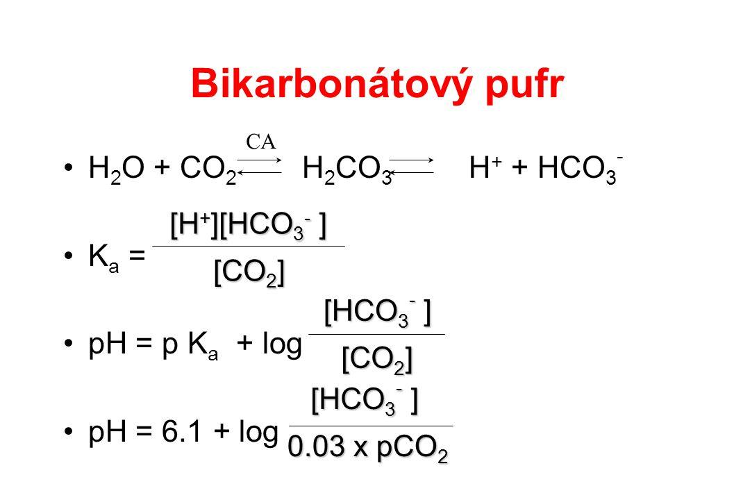 H 2 O + CO 2 H 2 CO 3 H + + HCO 3 - K a = pH = p K a + log pH = 6.1 + log CA [CO 2 ] [H + ][HCO 3 - ] [CO 2 ] [HCO 3 - ] 0.03 x pCO 2 [HCO 3 - ] Bikar
