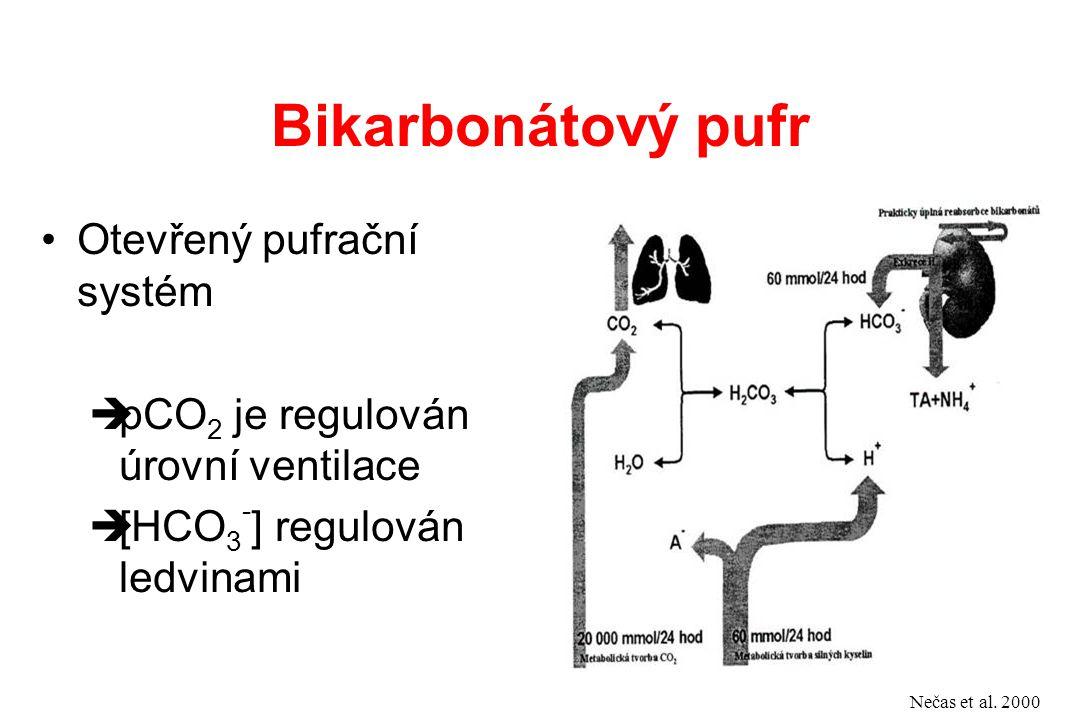 Otevřený pufrační systém  pCO 2 je regulován úrovní ventilace  [HCO 3 - ] regulován ledvinami Nečas et al. 2000