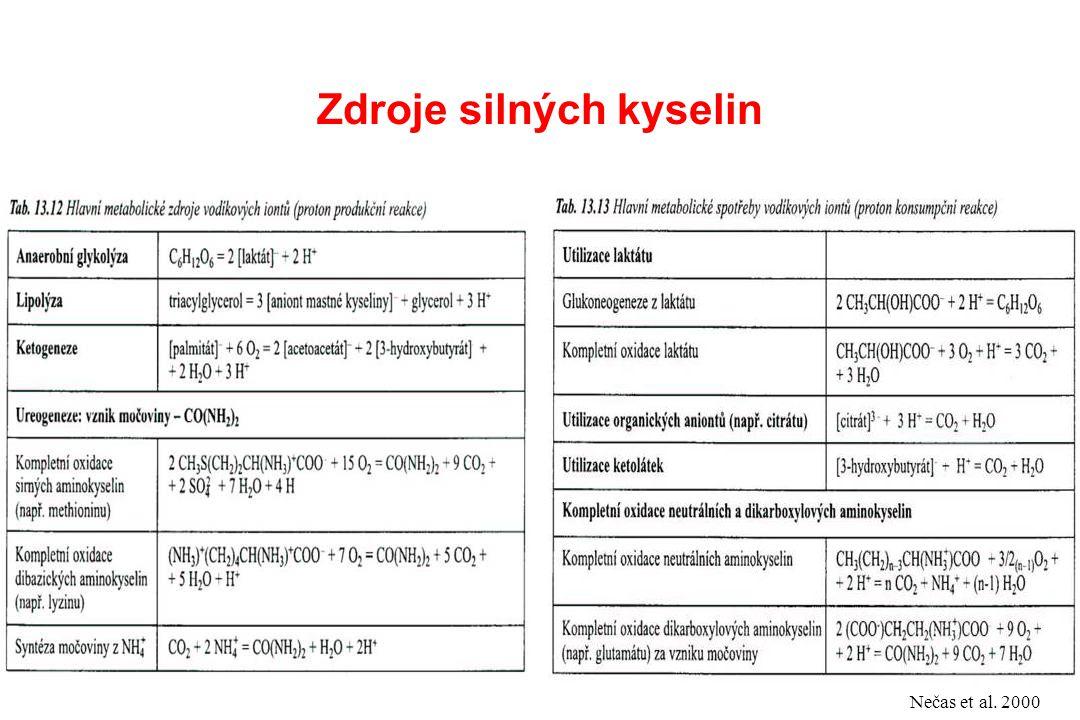 Zdroje silných kyselin Nečas et al. 2000