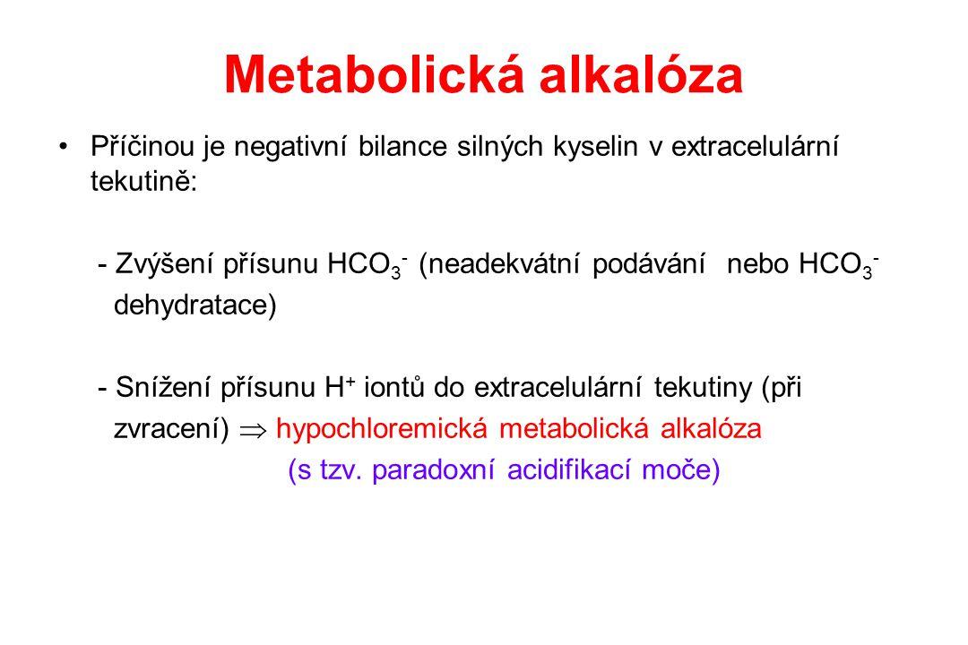 Metabolická alkalóza Příčinou je negativní bilance silných kyselin v extracelulární tekutině: - Zvýšení přísunu HCO 3 - (neadekvátní podávání nebo HCO