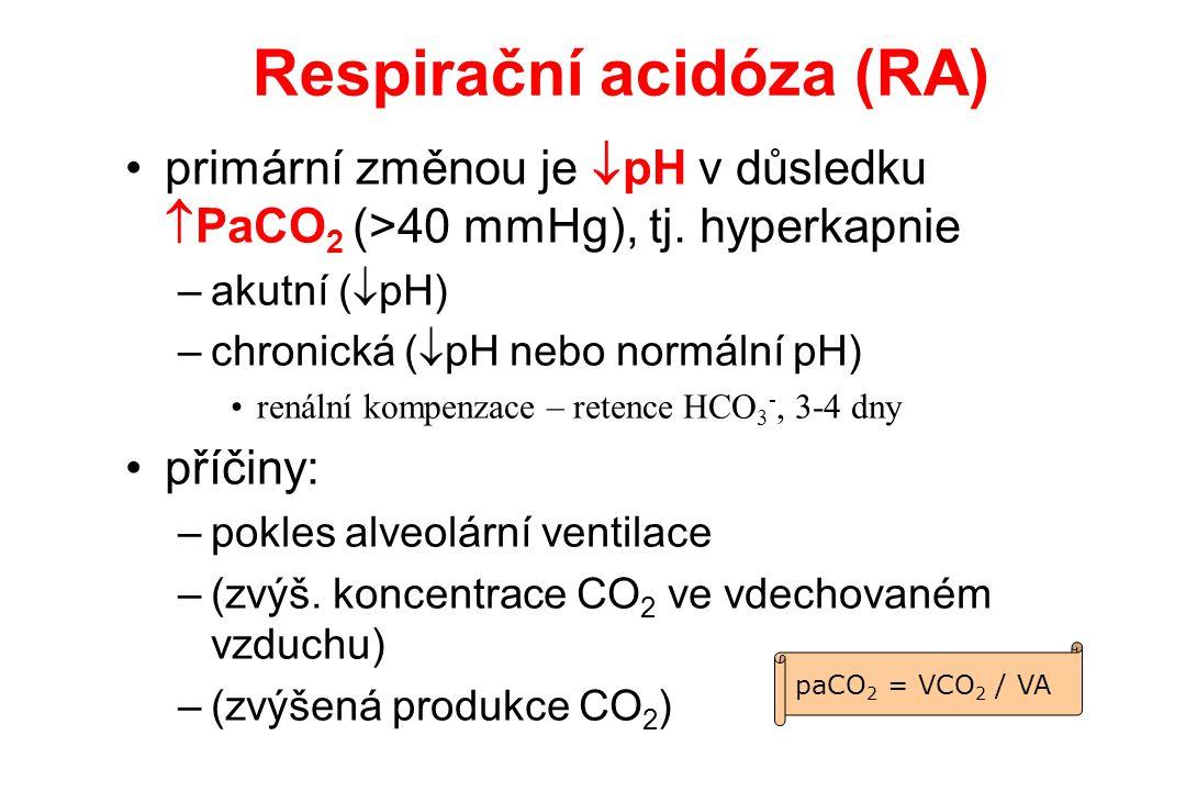 Respirační acidóza (RA) primární změnou je  pH v důsledku  PaCO 2 (>40 mmHg), tj. hyperkapnie –akutní (  pH) –chronická (  pH nebo normální pH) re