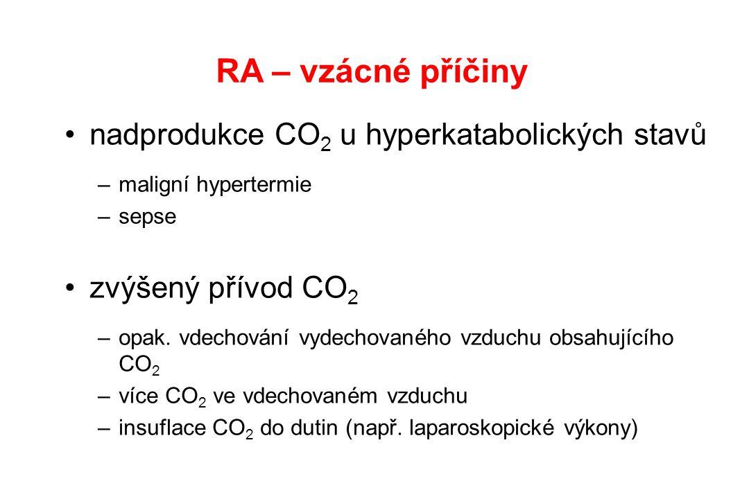 RA – vzácné příčiny nadprodukce CO 2 u hyperkatabolických stavů –maligní hypertermie –sepse zvýšený přívod CO 2 –opak. vdechování vydechovaného vzduch