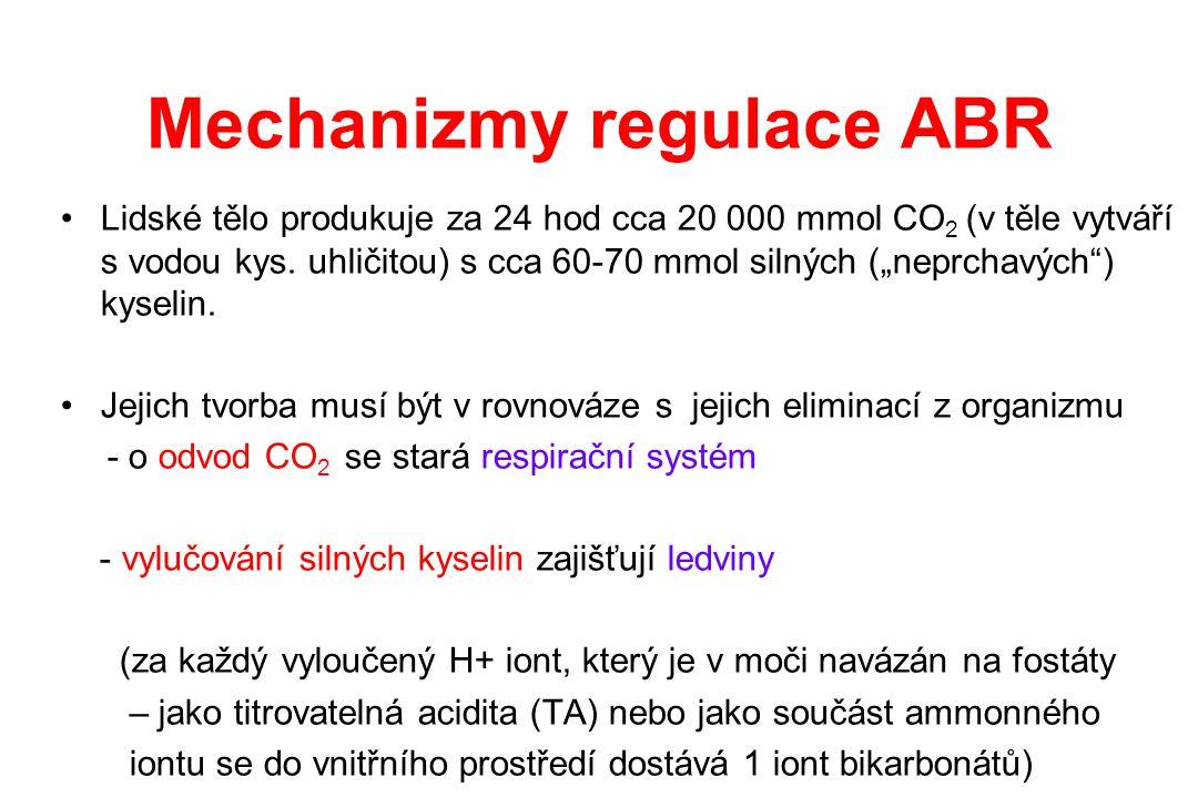 """Mechanizmy regulace ABR Lidské tělo produkuje za 24 hod cca 20 000 mmol CO 2 (v těle vytváří s vodou kys. uhličitou) s cca 60-70 mmol silných (""""neprch"""