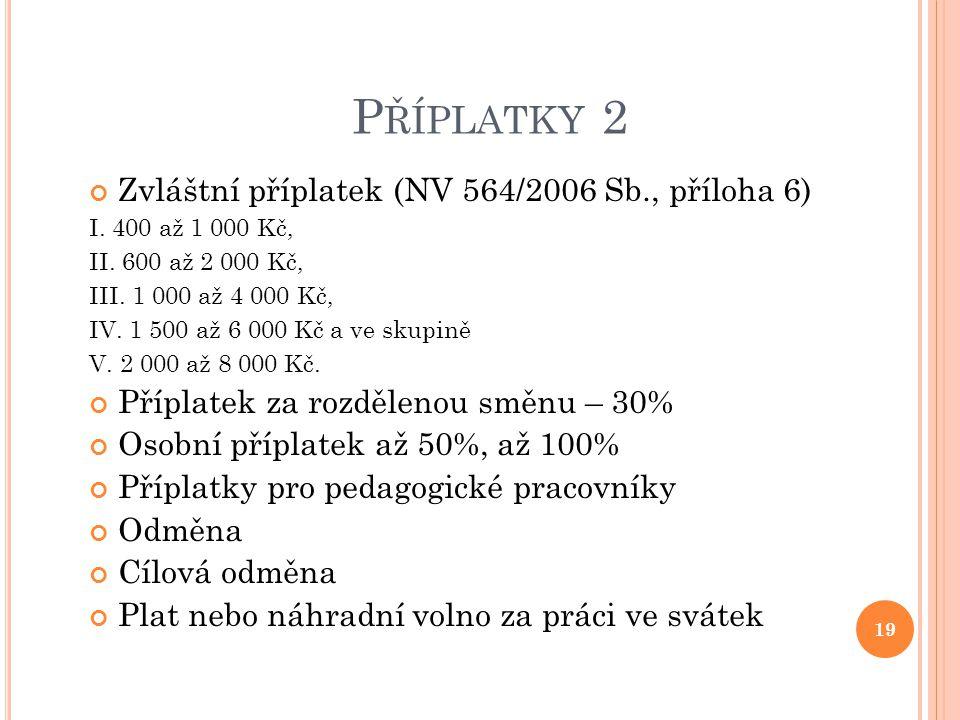 P ŘÍPLATKY 2 Zvláštní příplatek (NV 564/2006 Sb., příloha 6) I. 400 až 1 000 Kč, II. 600 až 2 000 Kč, III. 1 000 až 4 000 Kč, IV. 1 500 až 6 000 Kč a