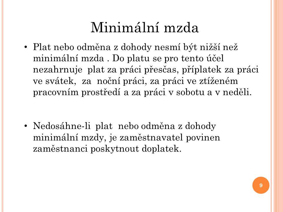 Minimální mzda Plat nebo odměna z dohody nesmí být nižší než minimální mzda.