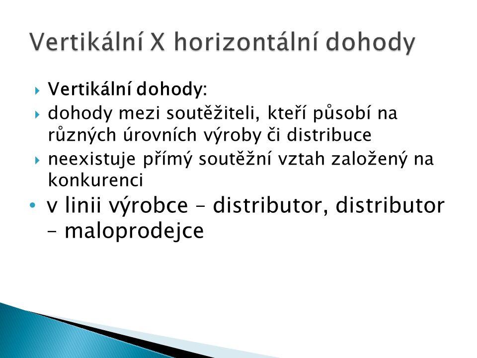  Vertikální dohody:  dohody mezi soutěžiteli, kteří působí na různých úrovních výroby či distribuce  neexistuje přímý soutěžní vztah založený na konkurenci v linii výrobce – distributor, distributor – maloprodejce