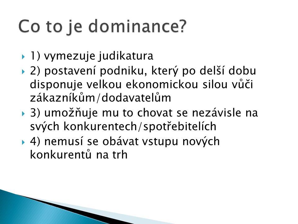  1) vymezuje judikatura  2) postavení podniku, který po delší dobu disponuje velkou ekonomickou silou vůči zákazníkům/dodavatelům  3) umožňuje mu to chovat se nezávisle na svých konkurentech/spotřebitelích  4) nemusí se obávat vstupu nových konkurentů na trh