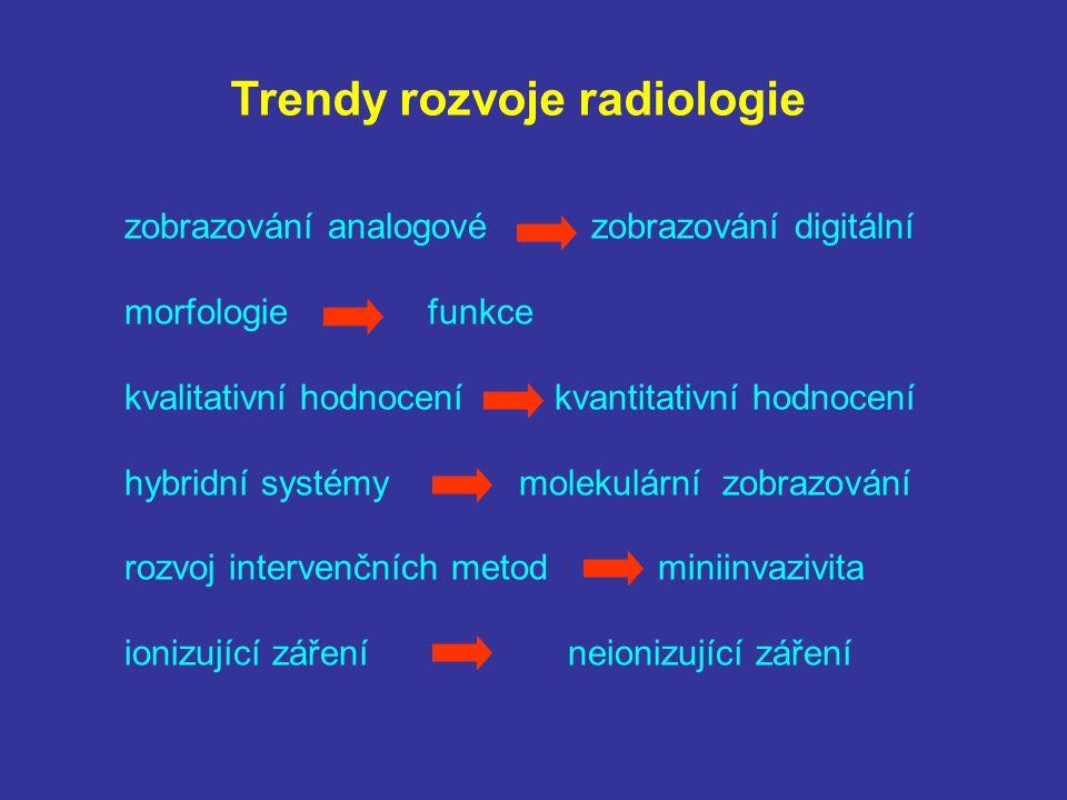 Trendy rozvoje radiologie zobrazování analogové zobrazování digitální morfologie funkce kvalitativní hodnocení kvantitativní hodnocení hybridní systém