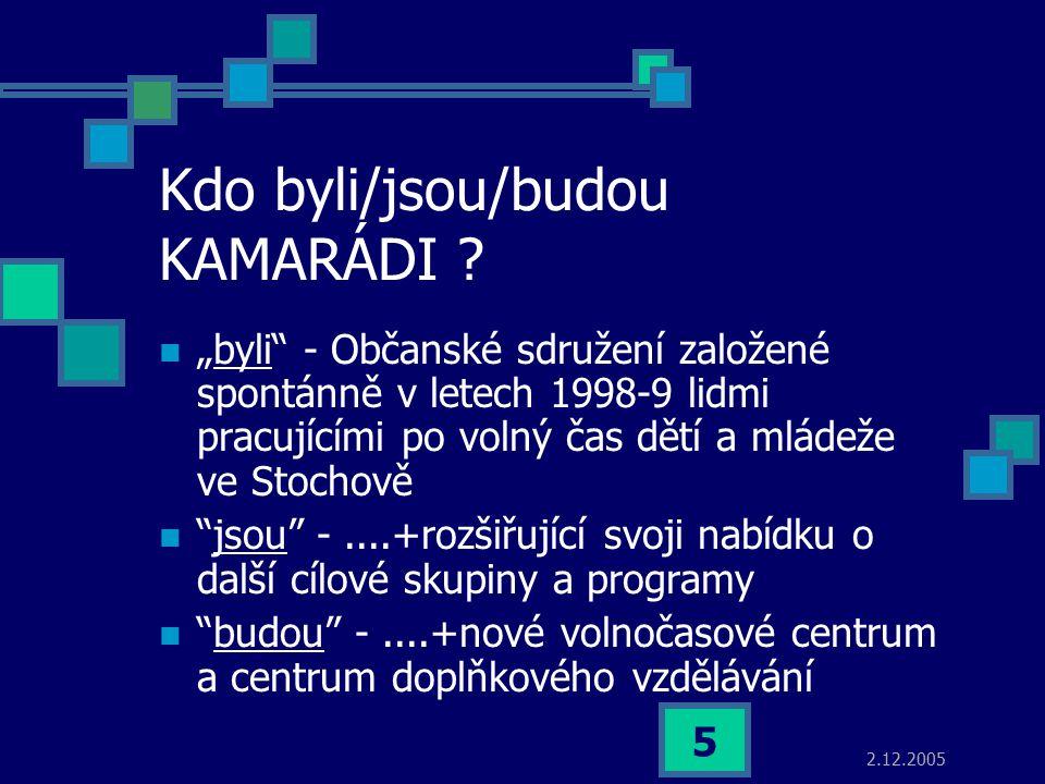 """2.12.2005 5 Kdo byli/jsou/budou KAMARÁDI ? """"byli"""" - Občanské sdružení založené spontánně v letech 1998-9 lidmi pracujícími po volný čas dětí a mládeže"""
