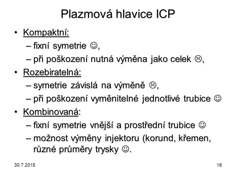 Plazmová hlavice ICP Kompaktní:Kompaktní: –fixní symetrie, –při poškození nutná výměna jako celek , Rozebiratelná:Rozebiratelná: –symetrie závislá na