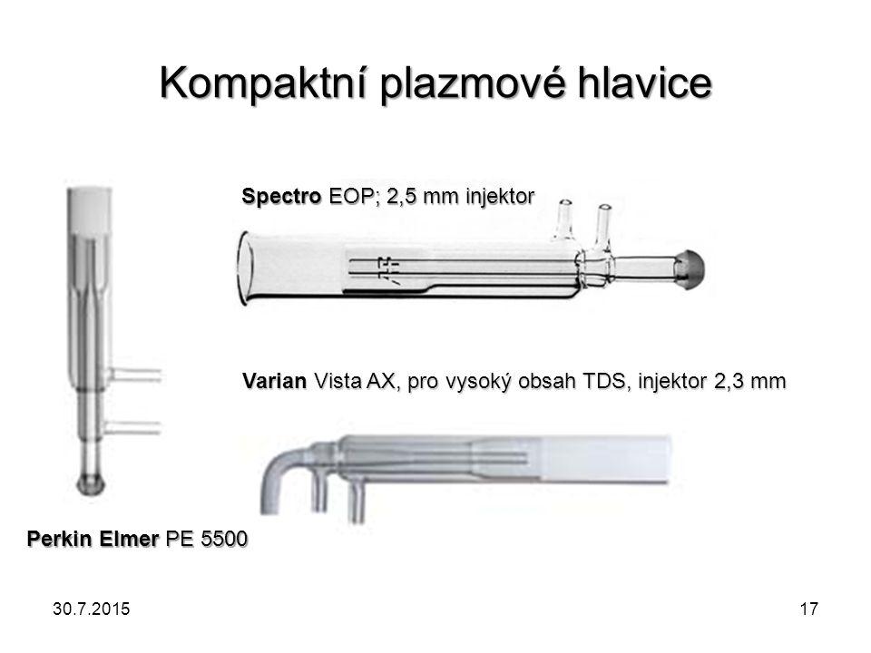 Kompaktní plazmové hlavice SpectroEOP; 2,5 mm injektor Spectro EOP; 2,5 mm injektor Varian Vista AX, pro vysoký obsah TDS, injektor 2,3 mm Perkin Elme