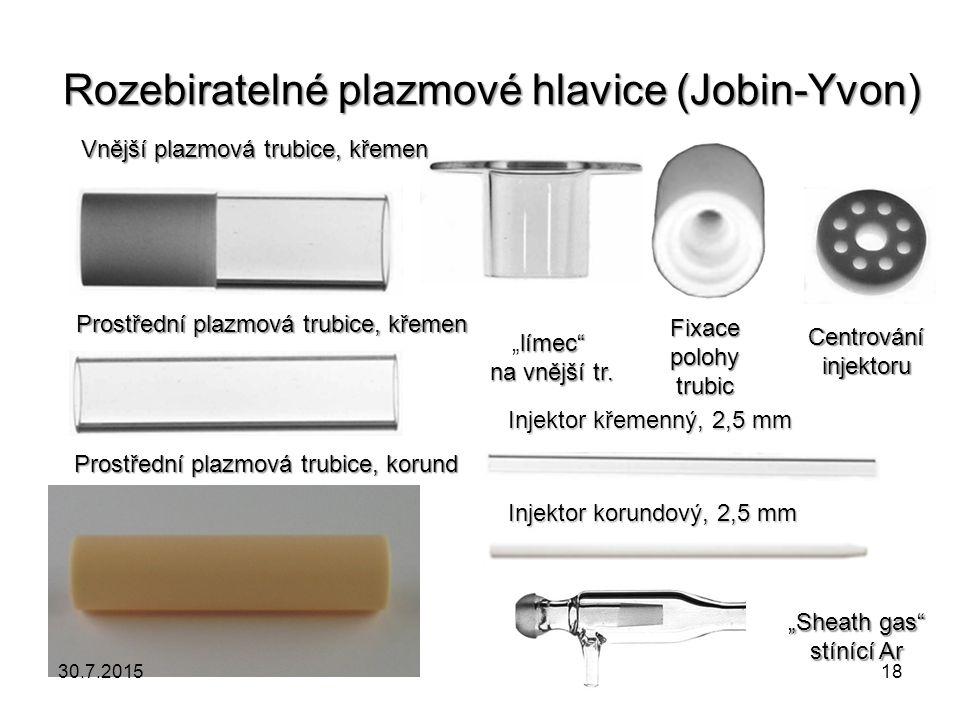 """Rozebiratelné plazmové hlavice (Jobin-Yvon) Vnější plazmová trubice, křemen Prostřední plazmová trubice, křemen Prostřední plazmová trubice, korund """"S"""