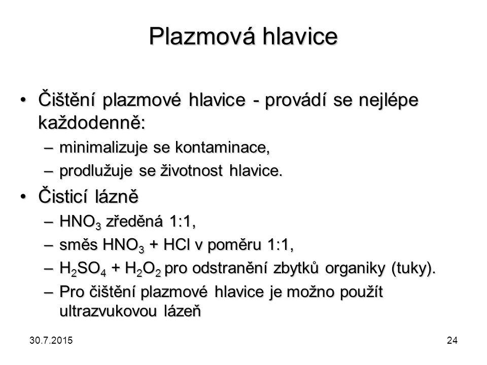 Plazmová hlavice Čištění plazmové hlavice - provádí se nejlépe každodenně:Čištění plazmové hlavice - provádí se nejlépe každodenně: –minimalizuje se k