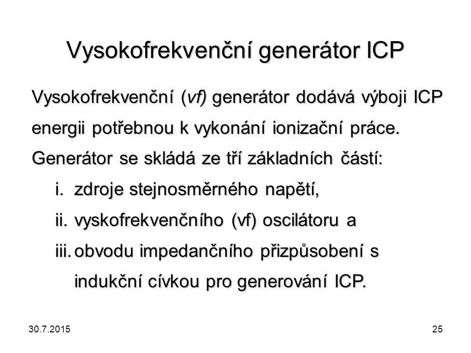 Vysokofrekvenční generátor ICP Vysokofrekvenční (vf) generátor dodává výboji ICP energii potřebnou k vykonání ionizační práce. Generátor se skládá ze