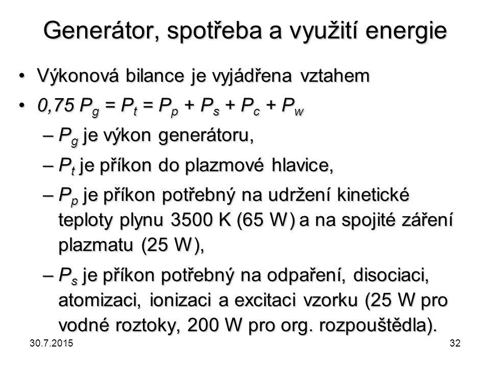 Generátor, spotřeba a využití energie Výkonová bilance je vyjádřena vztahemVýkonová bilance je vyjádřena vztahem 0,75 P g = P t = P p + P s + P c + P