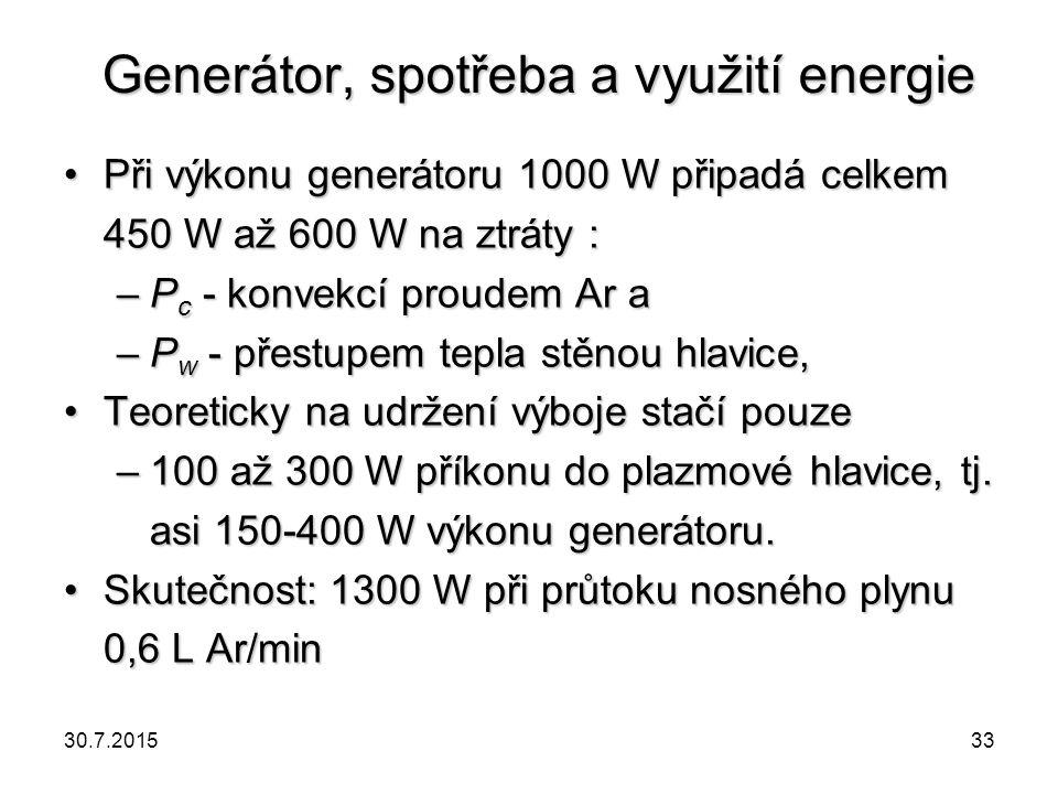 Generátor, spotřeba a využití energie Při výkonu generátoru 1000 W připadá celkem 450 W až 600 W na ztráty :Při výkonu generátoru 1000 W připadá celke