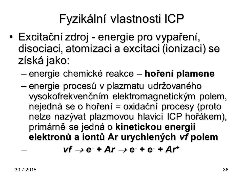 Fyzikální vlastnosti ICP Excitační zdroj - energie pro vypaření, disociaci, atomizaci a excitaci (ionizaci) se získá jako:Excitační zdroj - energie pr