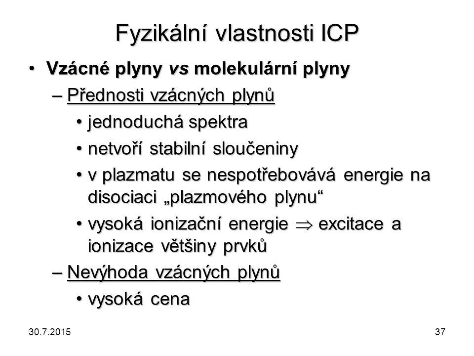 Fyzikální vlastnosti ICP Vzácné plyny vs molekulární plynyVzácné plyny vs molekulární plyny –Přednosti vzácných plynů jednoduchá spektrajednoduchá spe