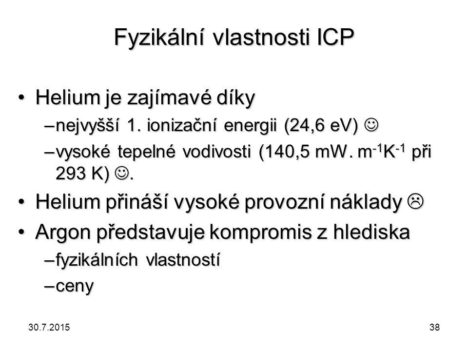 Fyzikální vlastnosti ICP Helium je zajímavé díkyHelium je zajímavé díky –nejvyšší 1. ionizační energii (24,6 eV) –nejvyšší 1. ionizační energii (24,6