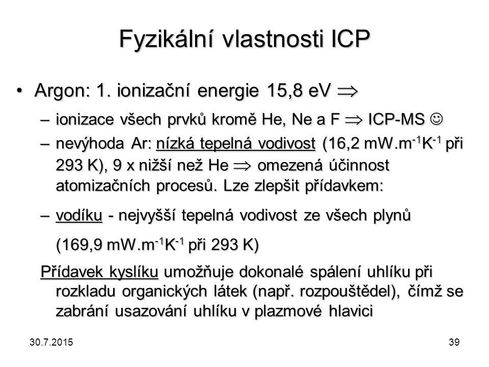 Fyzikální vlastnosti ICP Argon: 1. ionizační energie 15,8 eV Argon: 1. ionizační energie 15,8 eV  –ionizace všech prvků kromě He, Ne a F  ICP-MS –i