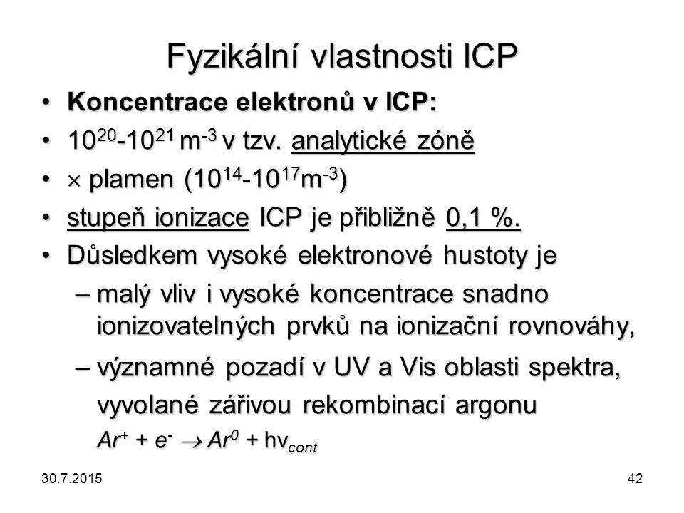Fyzikální vlastnosti ICP Koncentrace elektronů v ICP:Koncentrace elektronů v ICP: 10 20 -10 21 m -3 v tzv. analytické zóně10 20 -10 21 m -3 v tzv. ana