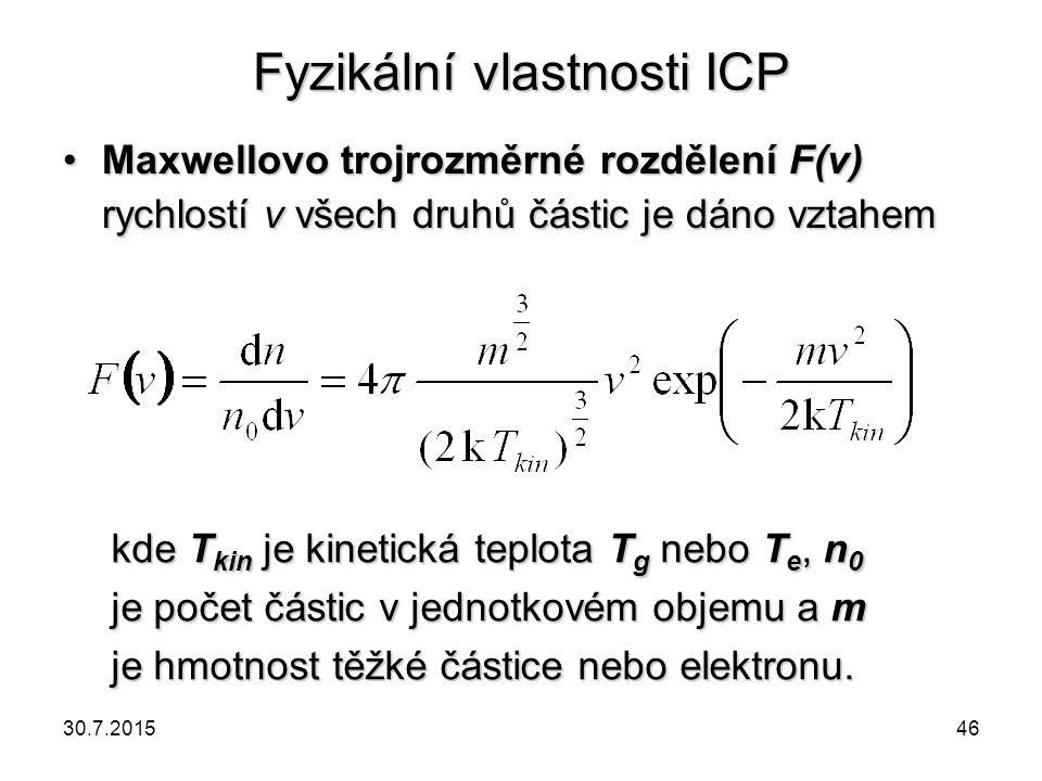 Fyzikální vlastnosti ICP Maxwellovo trojrozměrné rozdělení F(v) rychlostí v všech druhů částic je dáno vztahemMaxwellovo trojrozměrné rozdělení F(v) r