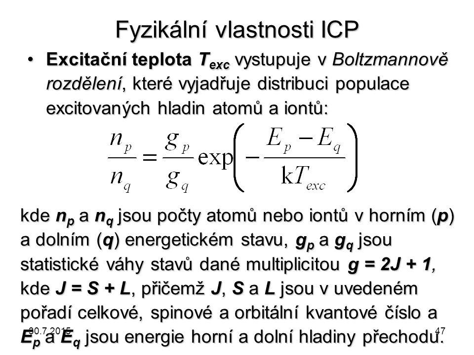 Fyzikální vlastnosti ICP Excitační teplota T exc vystupuje v Boltzmannově rozdělení, které vyjadřuje distribuci populace excitovaných hladin atomů a i
