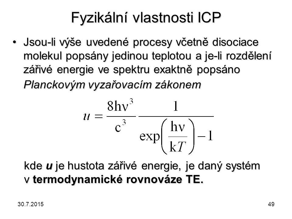 Fyzikální vlastnosti ICP Jsou-li výše uvedené procesy včetně disociace molekul popsány jedinou teplotou a je-li rozdělení zářivé energie ve spektru ex