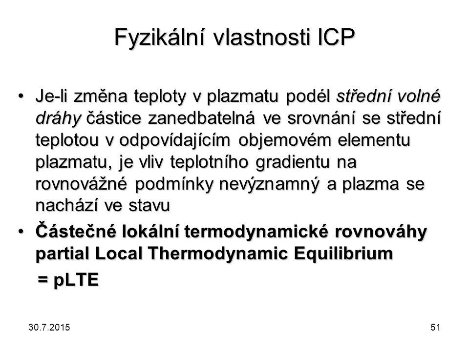 Fyzikální vlastnosti ICP Je-li změna teploty v plazmatu podél střední volné dráhy částice zanedbatelná ve srovnání se střední teplotou v odpovídajícím