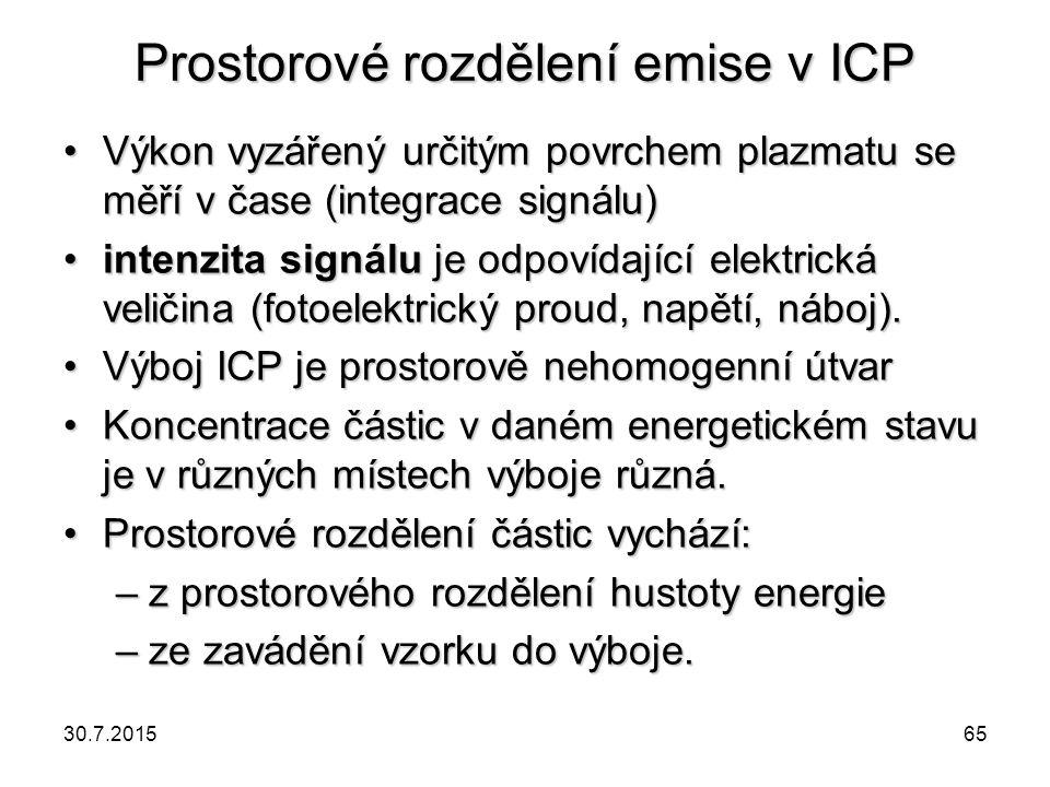 Prostorové rozdělení emise v ICP Výkon vyzářený určitým povrchem plazmatu se měří v čase (integrace signálu)Výkon vyzářený určitým povrchem plazmatu s