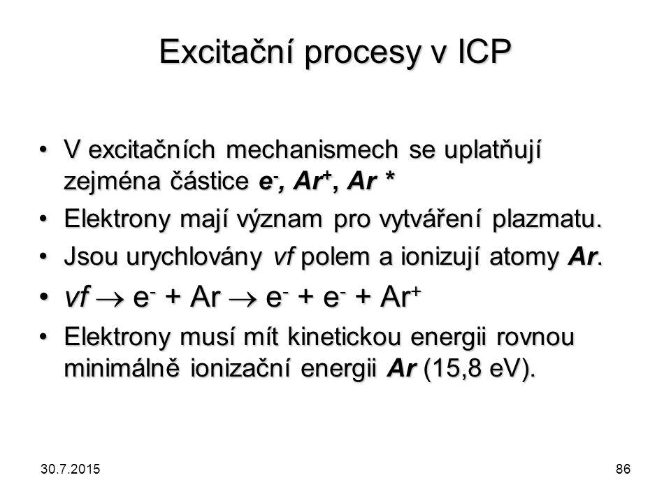 Excitační procesy v ICP V excitačních mechanismech se uplatňují zejména částice e -, Ar +, Ar *V excitačních mechanismech se uplatňují zejména částice