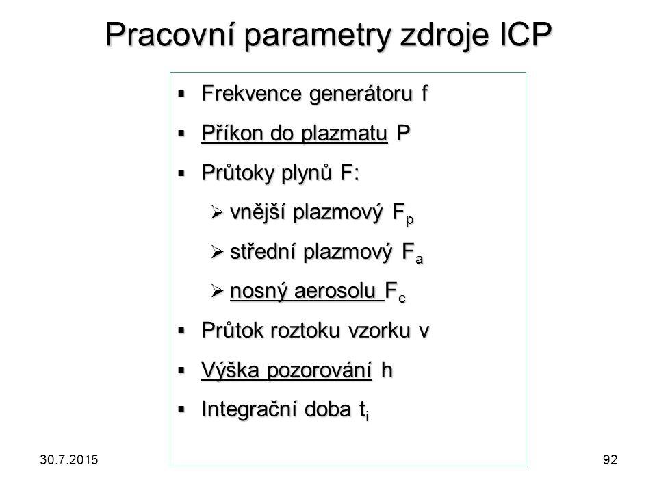 Pracovní parametry zdroje ICP  Frekvence generátoru f  Příkon do plazmatu P  Průtoky plynů F:  vnější plazmový F p  střední plazmový F a  nosný