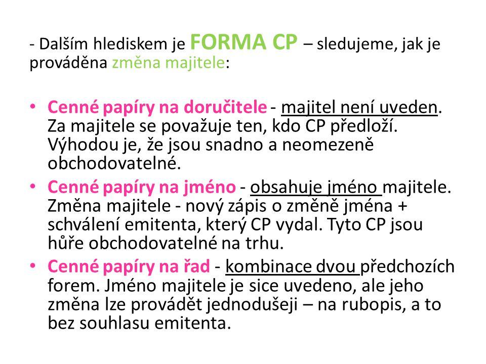- Dalším hlediskem je FORMA CP – sledujeme, jak je prováděna změna majitele: Cenné papíry na doručitele - majitel není uveden.
