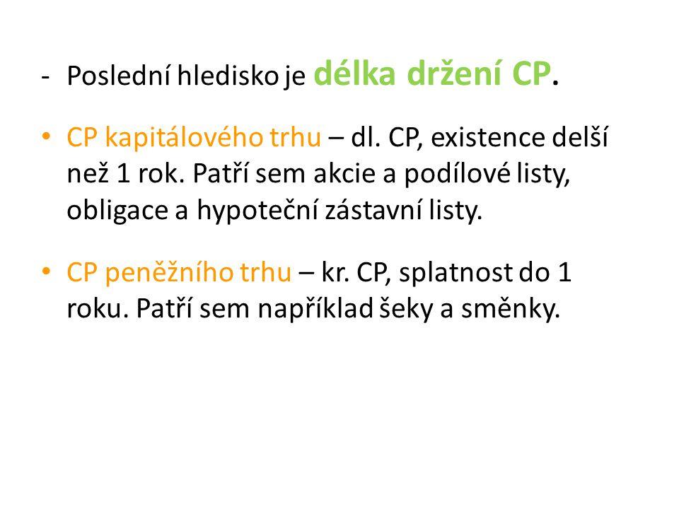 -Další dělení CP, například: podle emitenta (soukromé a veřejné), podle oběhuschopnosti (cirkulační a ukládací), podle práva, k němuž jsou cenné papíry zřízeny (hlavní a vedlejší) a další dělení.