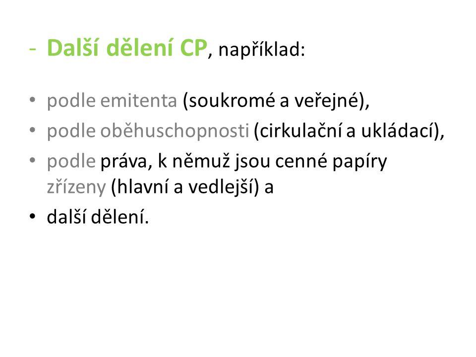 Úkol: 1.Jaký je rozdíl mezi listinným CP a zaknihovaným CP.