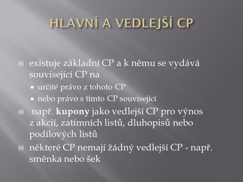  existuje základní CP a k němu se vydává související CP na  určité právo z tohoto CP  nebo právo s tímto CP související  např.
