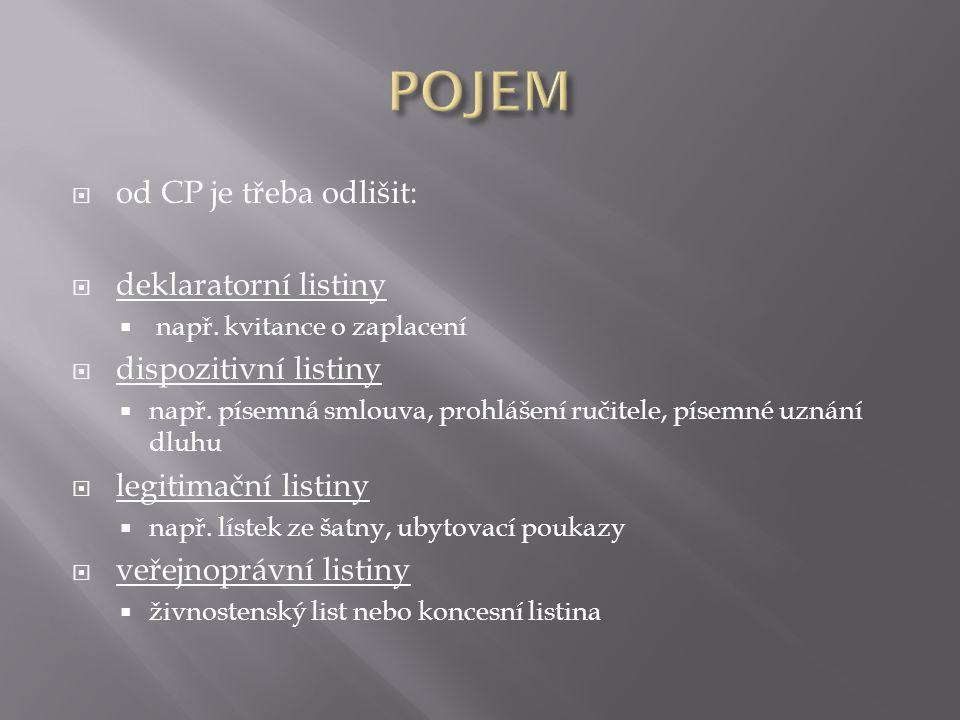  od CP je třeba odlišit:  deklaratorní listiny  např.