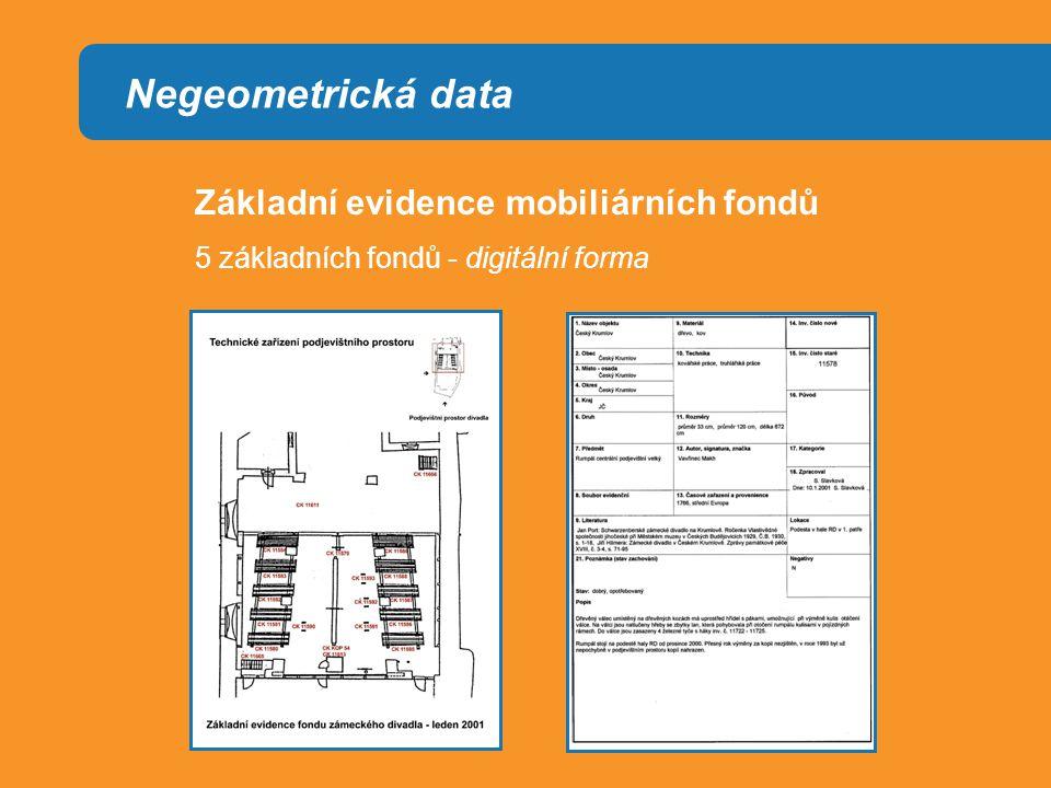 Negeometrická data Základní evidence mobiliárních fondů 5 základních fondů - digitální forma