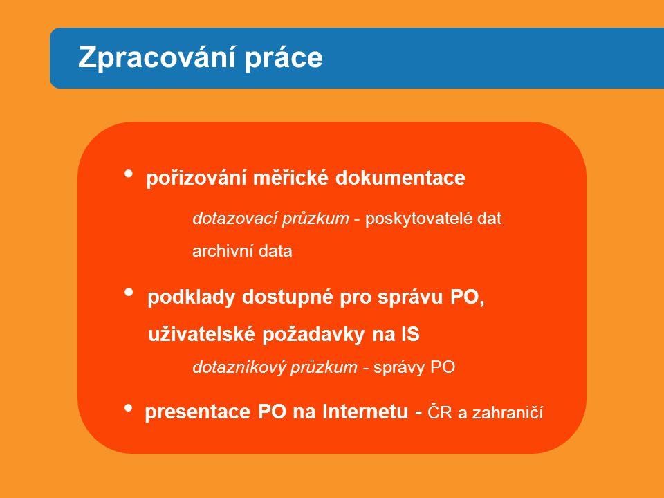 Zpracování práce pořizování měřické dokumentace dotazovací průzkum - poskytovatelé dat archivní data podklady dostupné pro správu PO, uživatelské požadavky na IS dotazníkový průzkum - správy PO presentace PO na Internetu - ČR a zahraničí