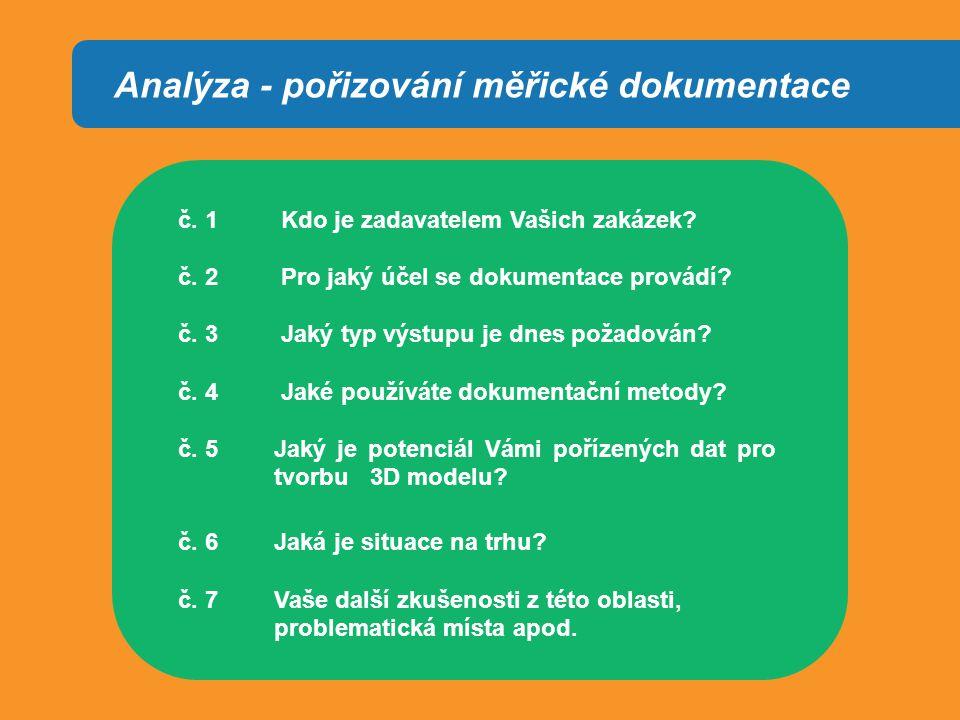 Analýza - pořizování měřické dokumentace č. 1 Kdo je zadavatelem Vašich zakázek.