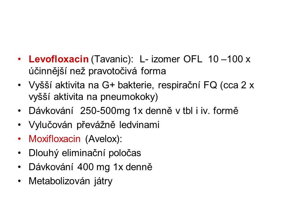 Levofloxacin (Tavanic): L- izomer OFL 10 –100 x účinnější než pravotočivá forma Vyšší aktivita na G+ bakterie, respirační FQ (cca 2 x vyšší aktivita n