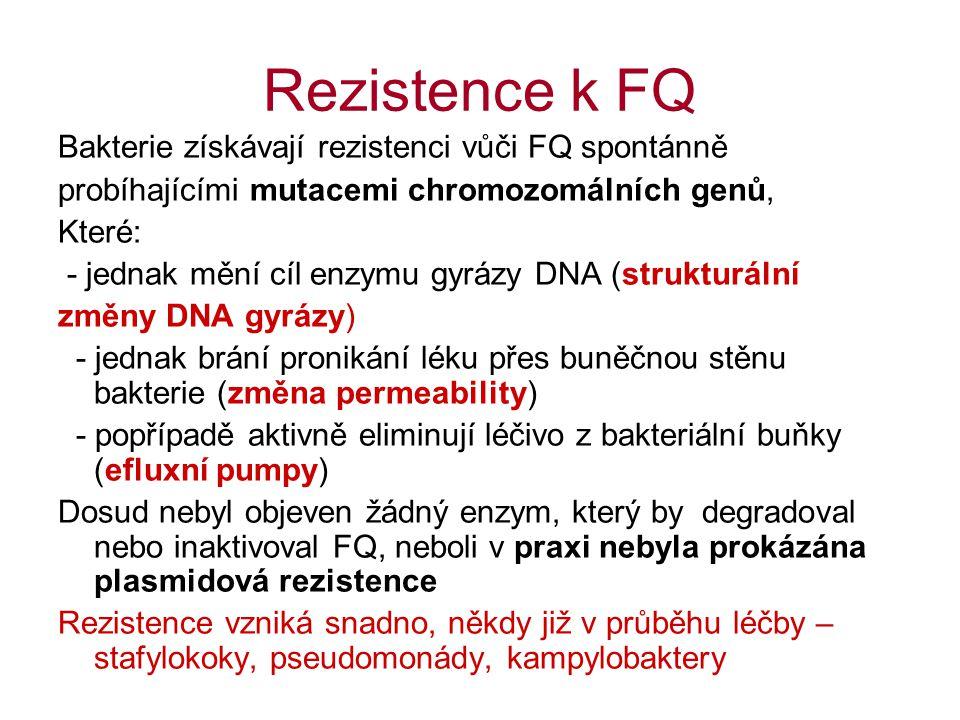 Rezistence k FQ Bakterie získávají rezistenci vůči FQ spontánně probíhajícími mutacemi chromozomálních genů, Které: - jednak mění cíl enzymu gyrázy DN