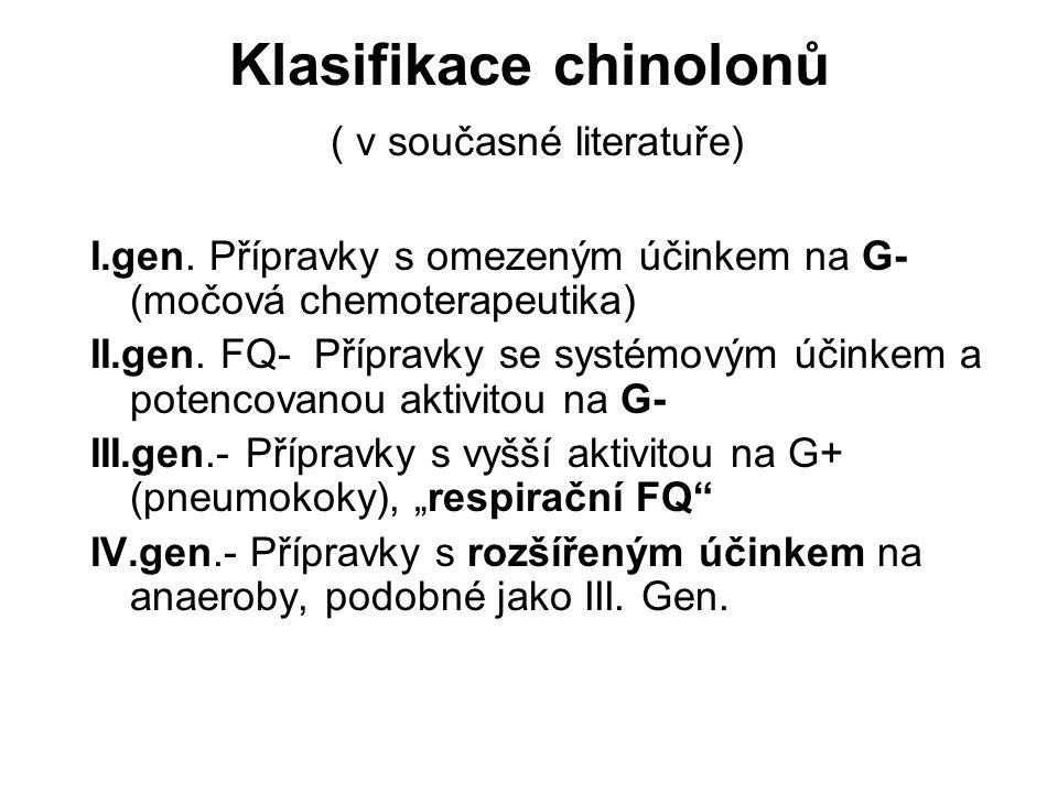 Klasifikace chinolonů ( v současné literatuře) I.gen. Přípravky s omezeným účinkem na G- (močová chemoterapeutika) II.gen. FQ- Přípravky se systémovým